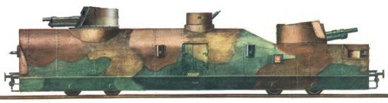 Artillery wagon of nr.11 and nr.12 armoured trains (the picture has gun turret corrected)