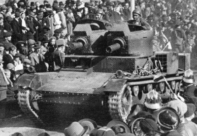Polish twin-turret Vickers Mk E in Zaolzie.
