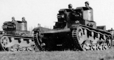 Polish twin-turret Vickers Mk.E tank with 37 mm gun