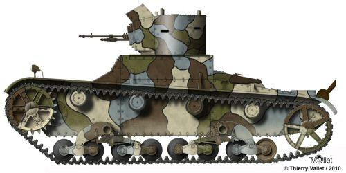 Polish Vickers Mk.E in earlierst camouflage (Thierry vallet)