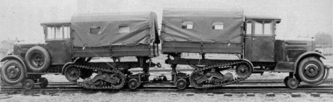 A pair of wz.34 halftracks on the rails [sources: 2,3].